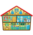 Cartoon house in a cut vector