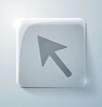 Glass square icon with highlights web arrow vector