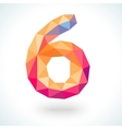 Number six in modern polygonal crystal style vector
