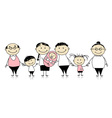 Happy big family with children newborn baby vector