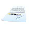 Business contract and pen vector