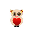 Pretty owl with a red heart vector