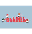 Group of business people assembling jigsaw puzzle vector