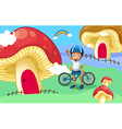 A young biker near the giant mushroom house vector
