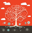 Abstract retro flat design tree with clouds and vector