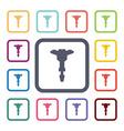 Jackhammer flat icons set vector