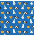 Pet heads pattern isolated on blue background vector