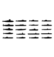Submarines black silhouettes set vector