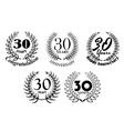 Set of 30 years anniversary laurel wreaths vector