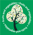 Tree made of fruits and vegetables- vector