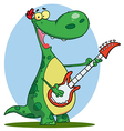 Dinosaur plays a guitar vector