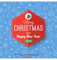 Christmas typographical label over blue seamless vector