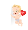 Cute cupid with valentine card holding a large vector