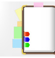 Opened dairy or notepad with bookmarks vector