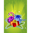 Card with colorful gift boxes vector