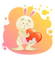 Cute toy bunny pet isolated holding heart vector