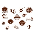 Coffee icons banners and logos in brown vector