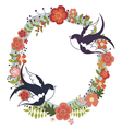 Floral wreath and swallows vector