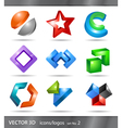 Set of 3d icons or logos vector