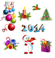 Christmas decoration template set vector