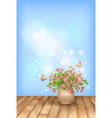 Spring pink flowers butterfly on sky background vector