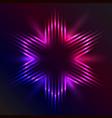 Christmas star formed of beams of purple light vector