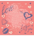 Doodle valentines day postcard with hand drawn vector
