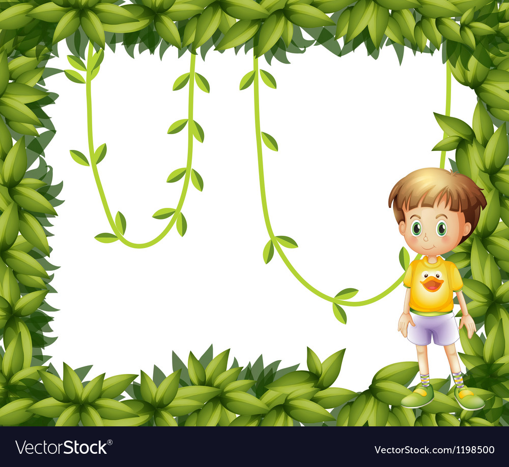 A child on a leafy frame vector | Price: 1 Credit (USD $1)