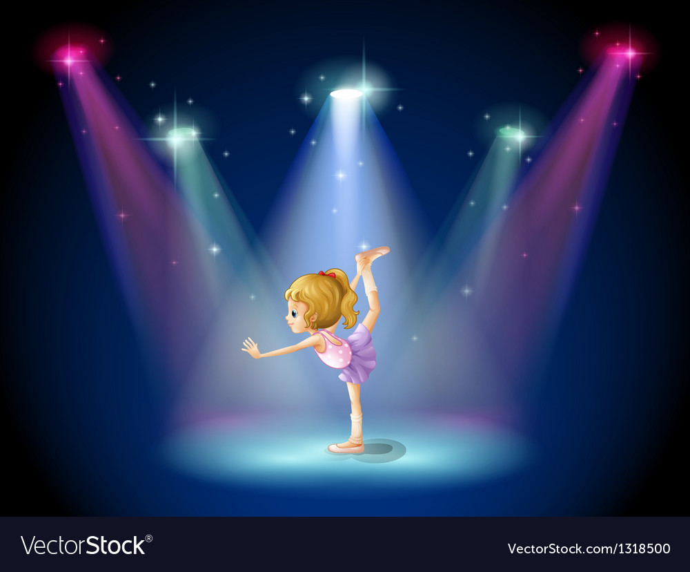 A girl performing ballet on the stage with vector | Price: 1 Credit (USD $1)