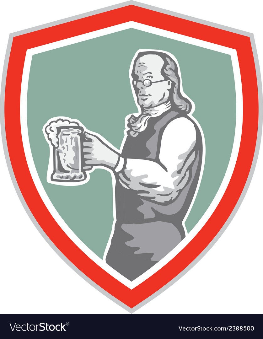 Benjamin franklin holding beer shield retro vector | Price: 1 Credit (USD $1)