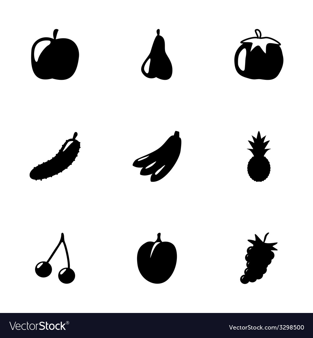 Black fruit and vegetables icons set vector | Price: 1 Credit (USD $1)