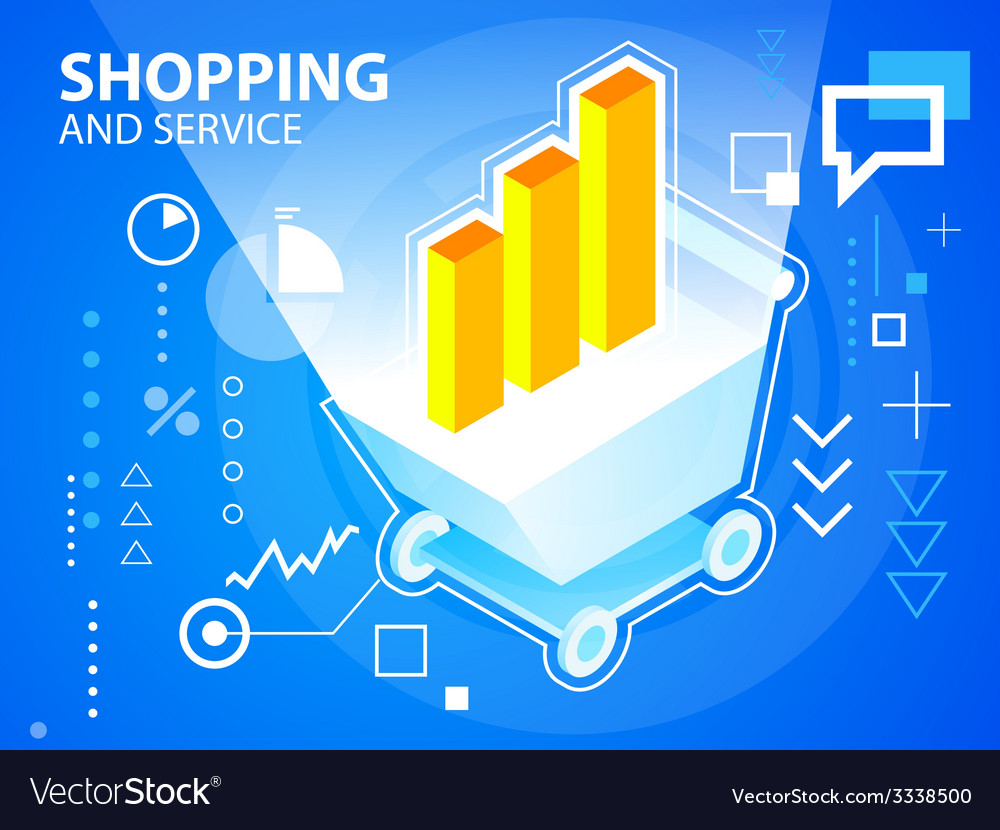 Bright shopping trolley and bar chart on blu vector   Price: 3 Credit (USD $3)