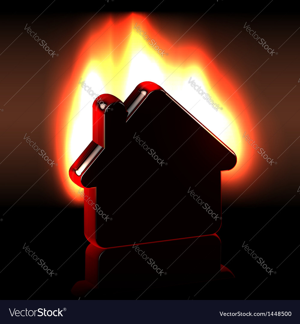 Burning home icon in flames vector | Price:  Credit (USD $)