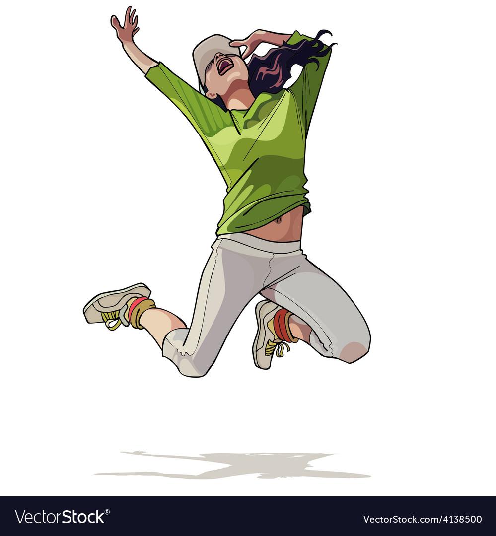 Cartoon girl jumping vector | Price: 3 Credit (USD $3)