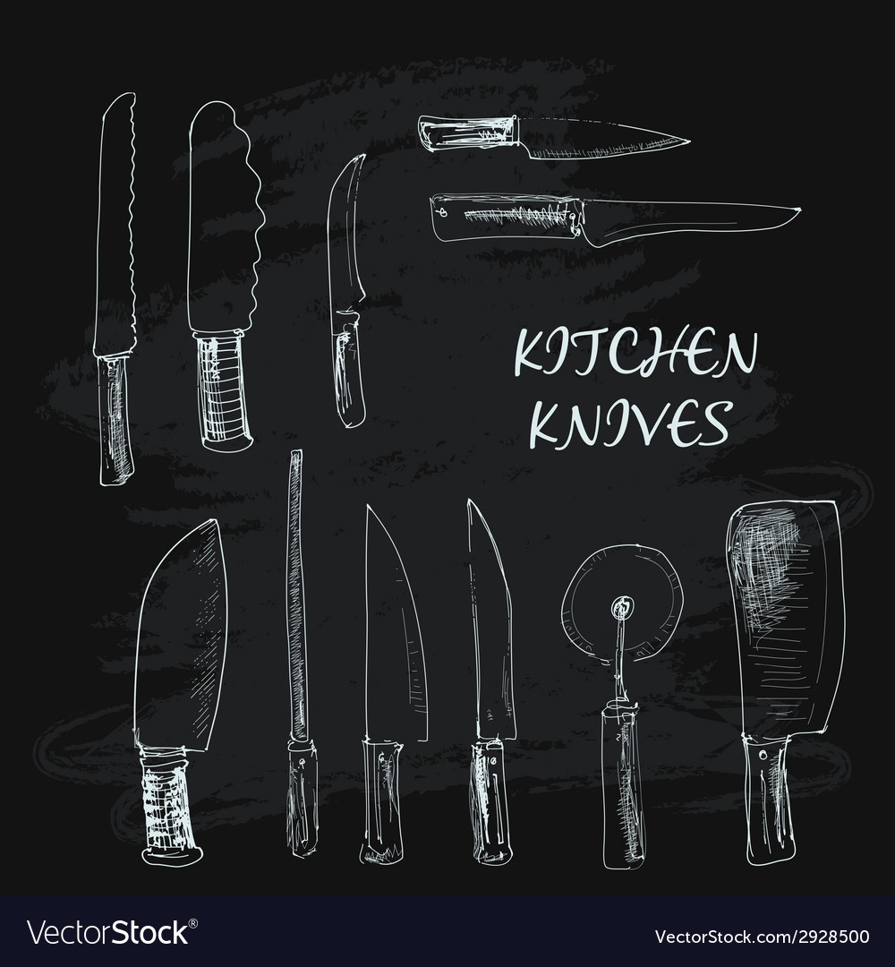 Collection of kitchen knives vector | Price: 1 Credit (USD $1)