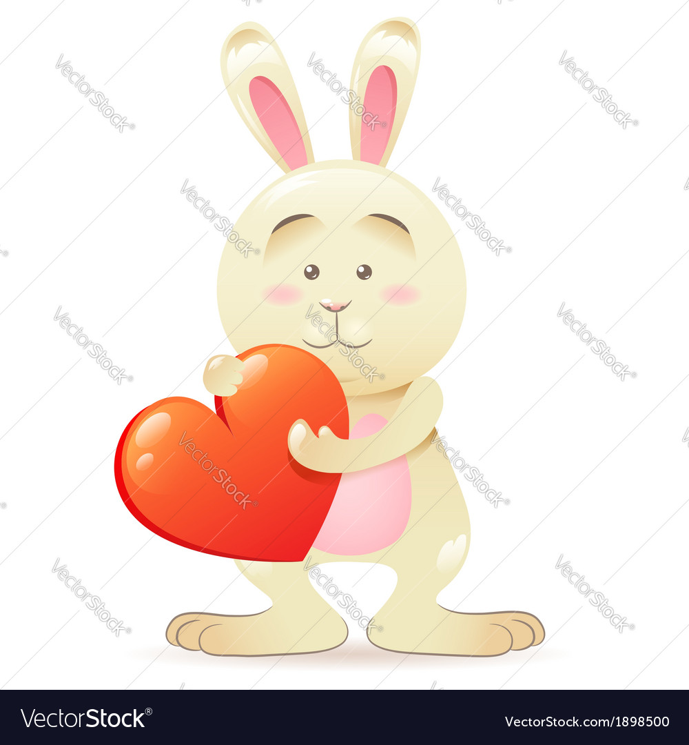 Cute toy bunny pet isolated holding heart vector | Price: 1 Credit (USD $1)