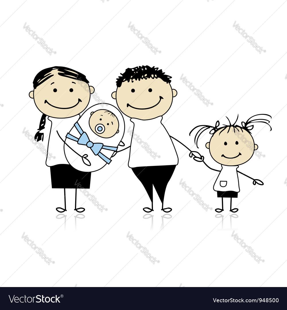 Happy parents with children newborn baby in hands vector   Price: 1 Credit (USD $1)