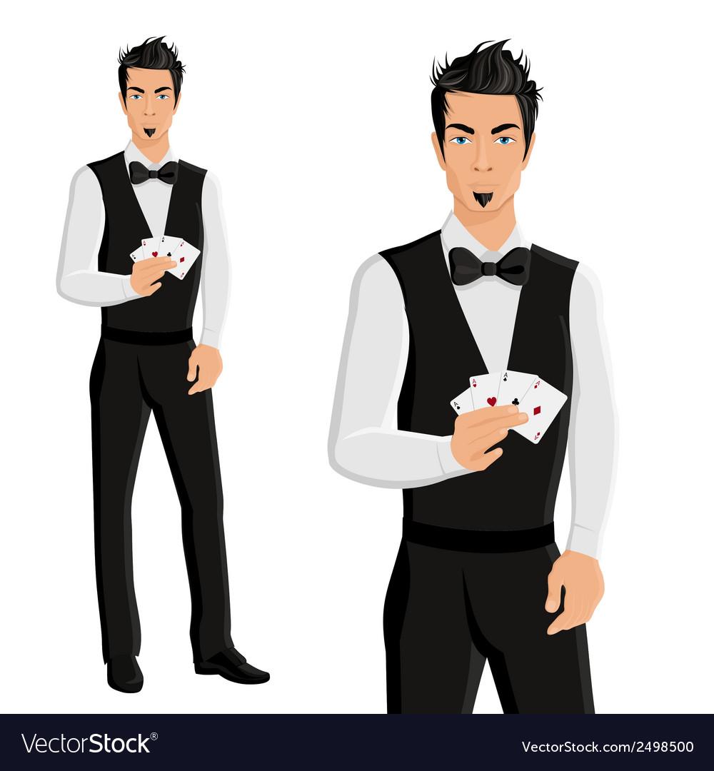 Man casino dealer portrait vector | Price: 1 Credit (USD $1)