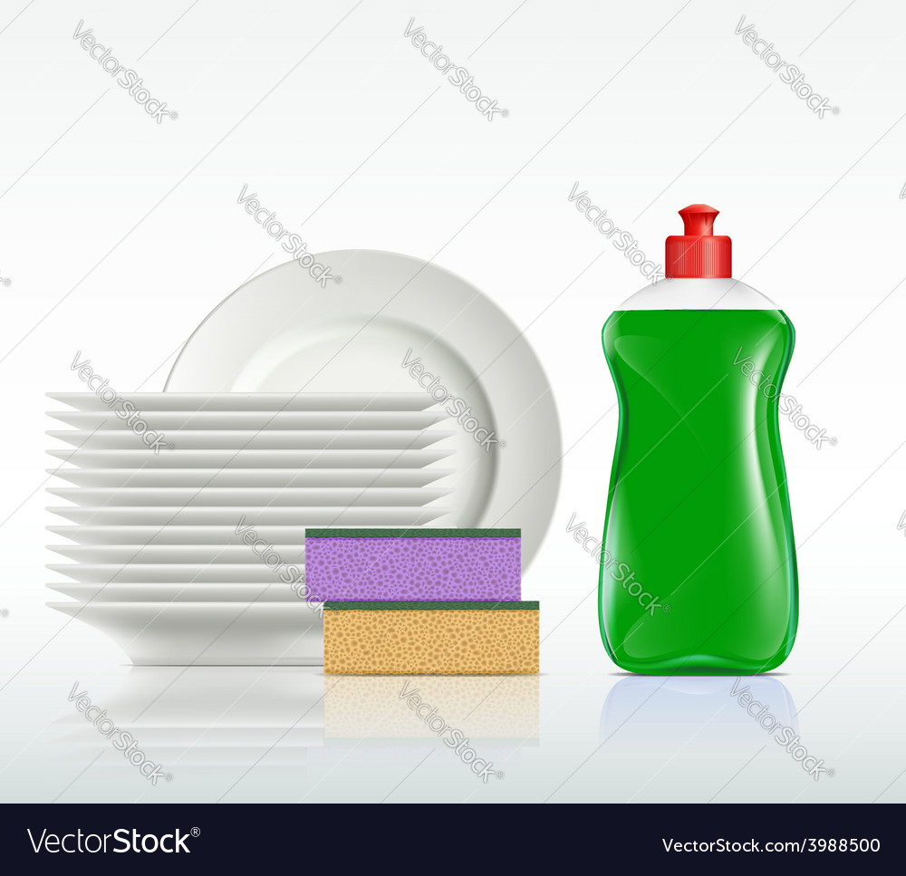 Plates and a bottle with detergent isolated on vector | Price: 1 Credit (USD $1)