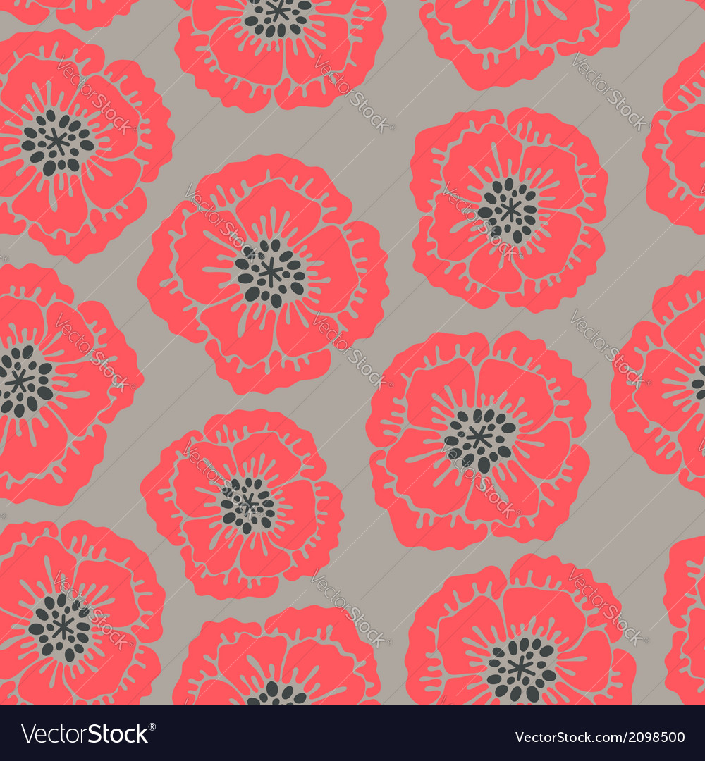 Seamless floral pattern with blooming poppies vector | Price: 1 Credit (USD $1)