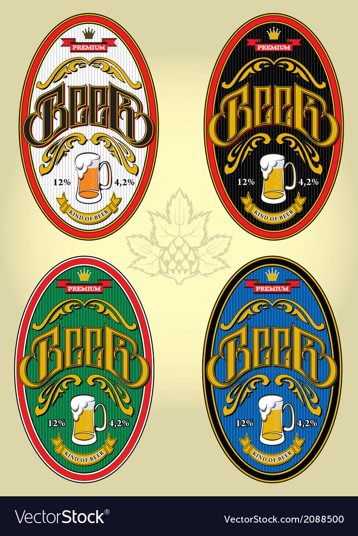 Set of four oval labels for beer vector | Price: 1 Credit (USD $1)
