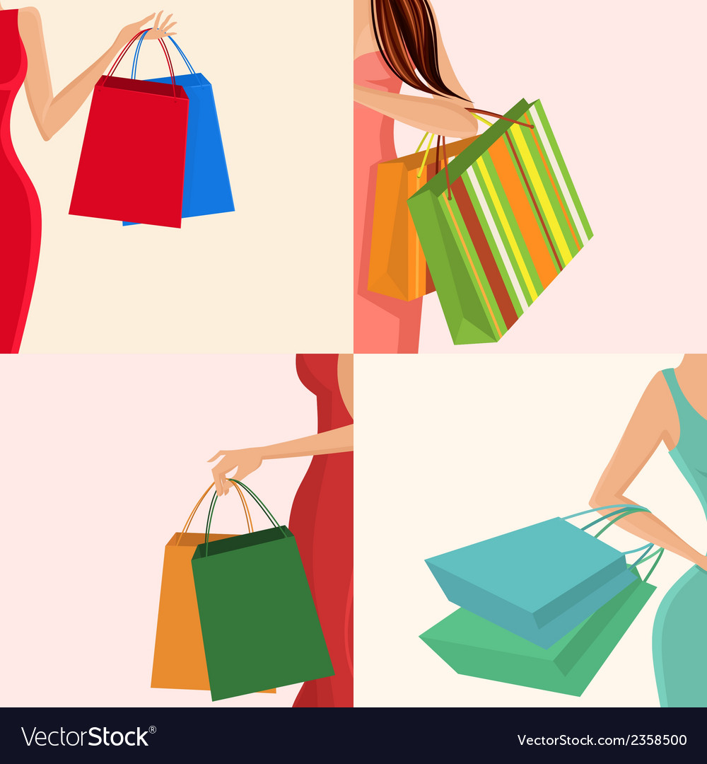 Shopping girl hand bag vector | Price: 1 Credit (USD $1)