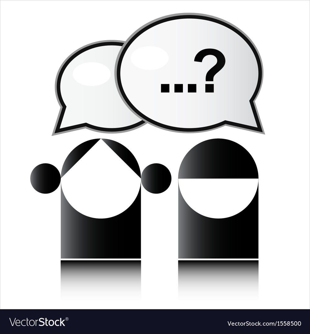 Two people with question mark vector   Price: 1 Credit (USD $1)