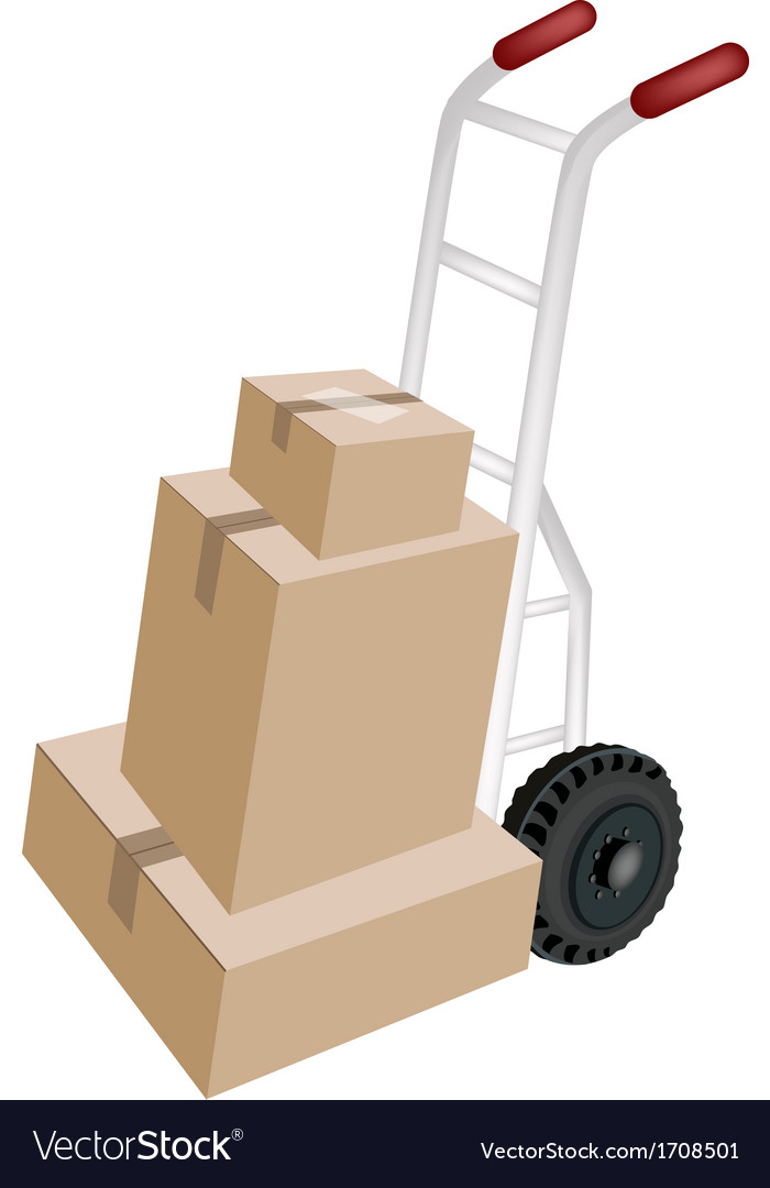 A hand truck loading stack of shipping boxes vector | Price: 1 Credit (USD $1)