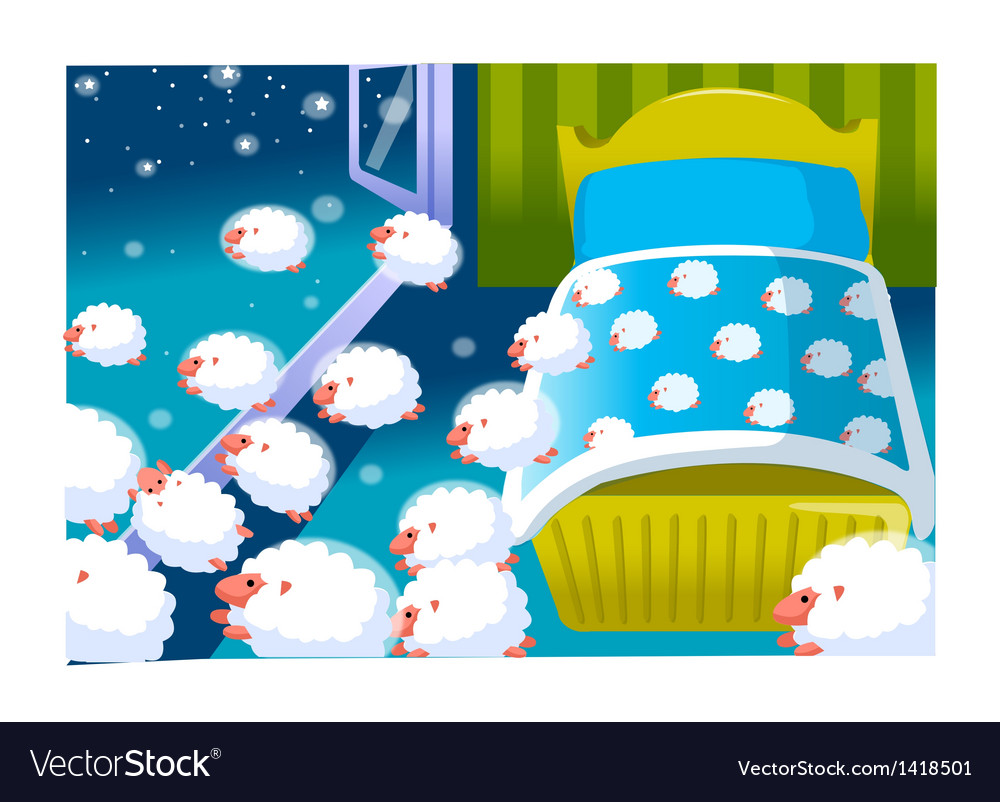 Baby crib and sheeps vector | Price: 1 Credit (USD $1)