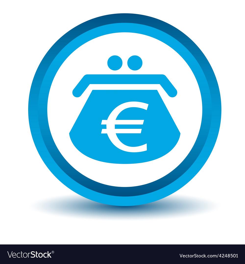 Blue euro purse icon vector | Price: 1 Credit (USD $1)