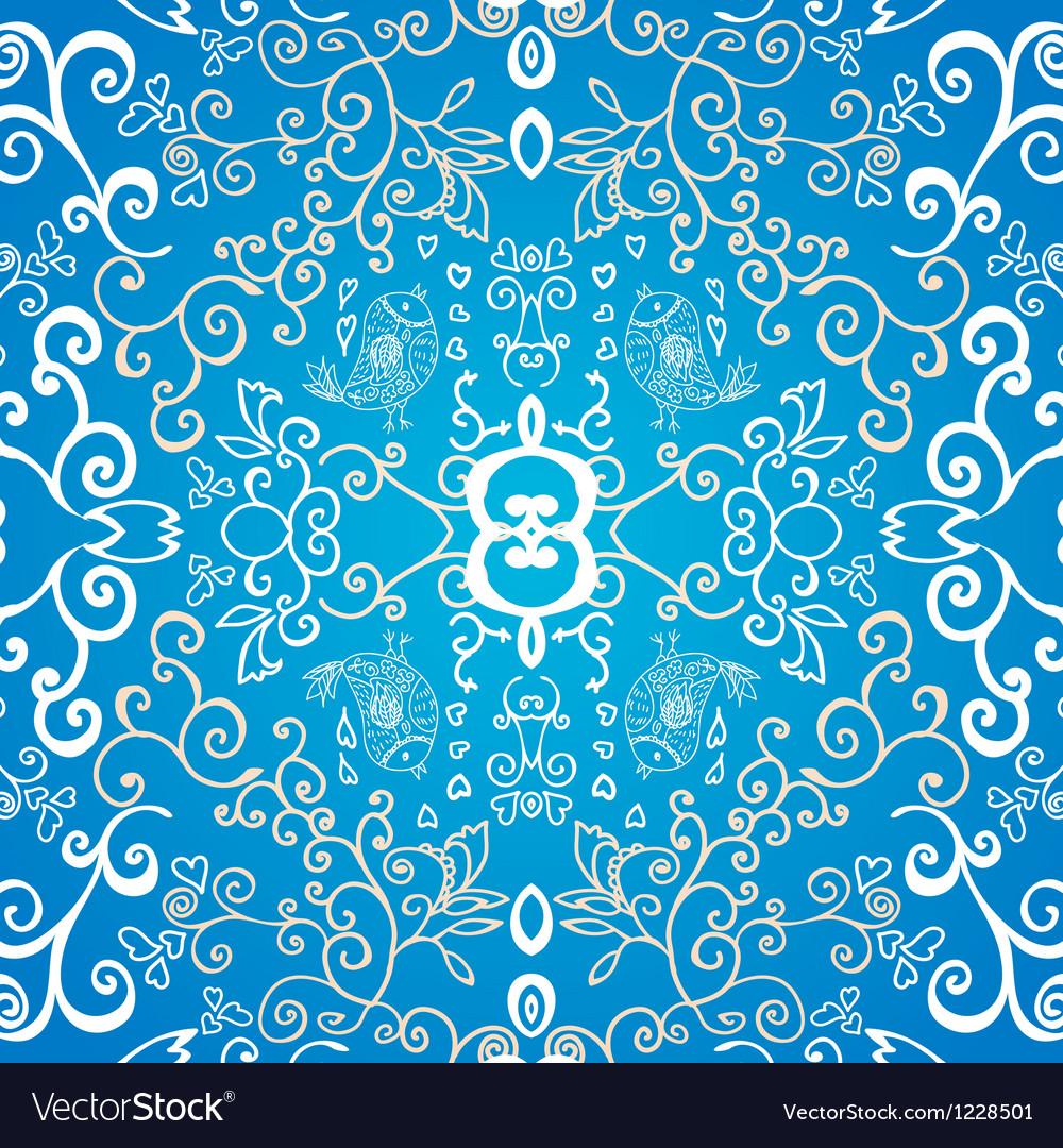 Blue symmetric floral ornament background vector | Price: 1 Credit (USD $1)