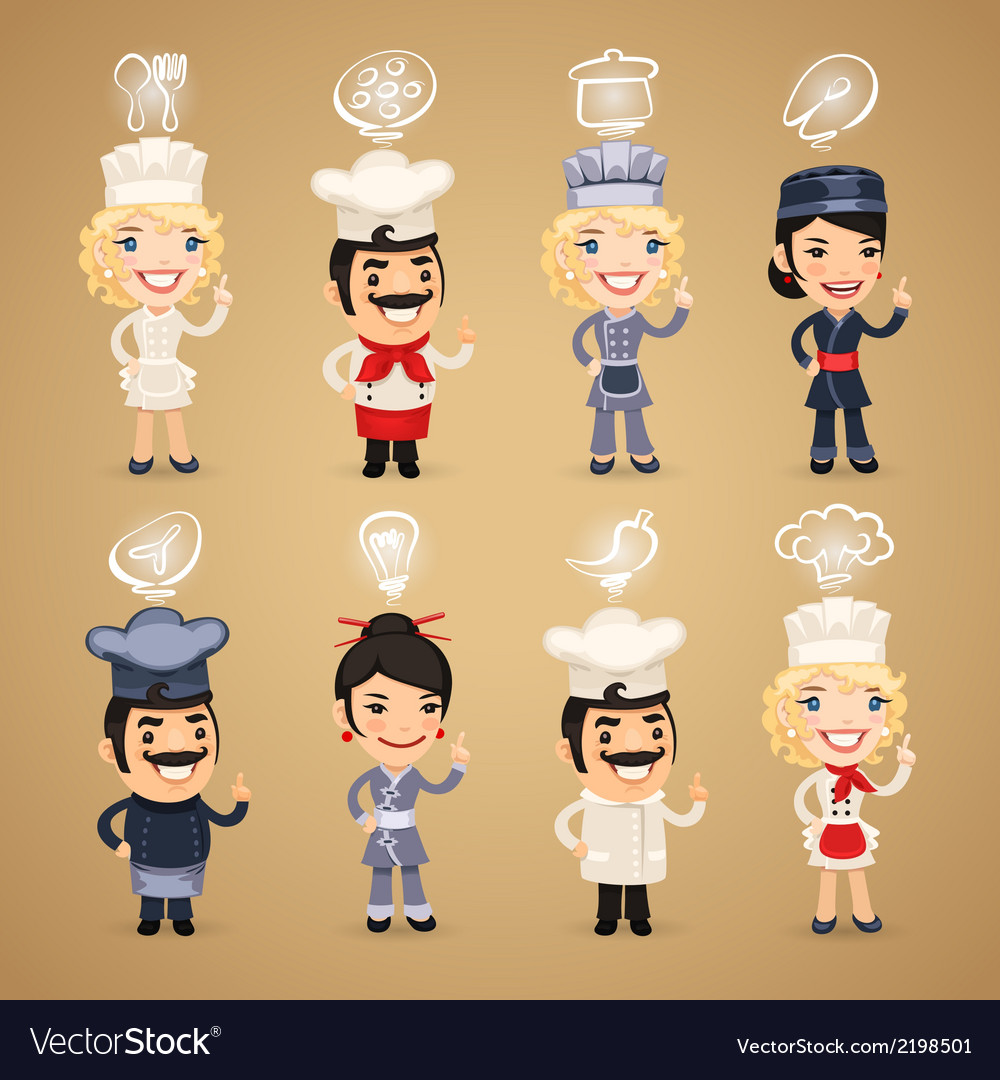 Chefs with simbols set vector | Price: 1 Credit (USD $1)