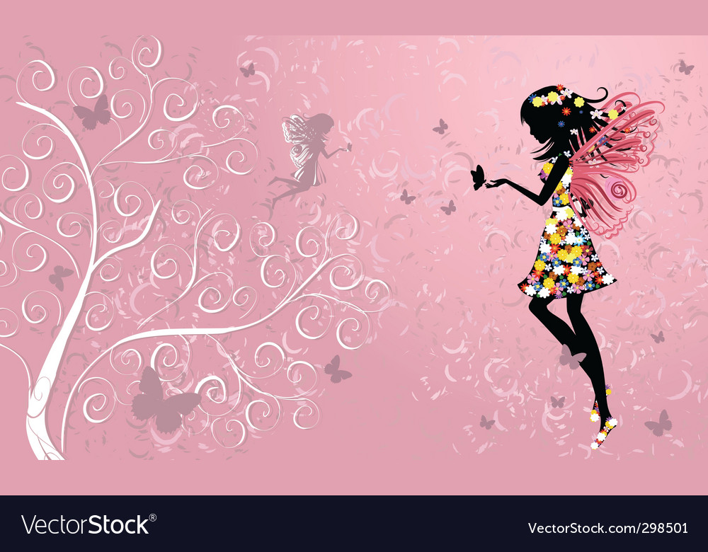 Flower fairy near patterned wood vector | Price: 1 Credit (USD $1)