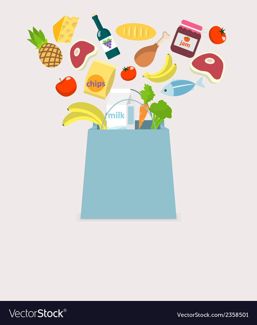 Food elements bag vector | Price: 1 Credit (USD $1)